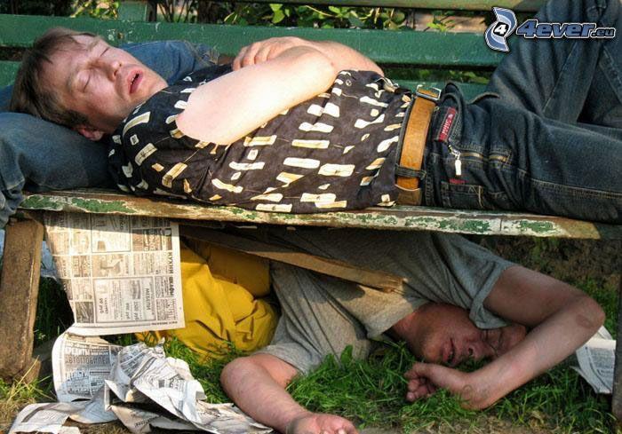 Obdachlosen, Hochbett, Alkoholiker