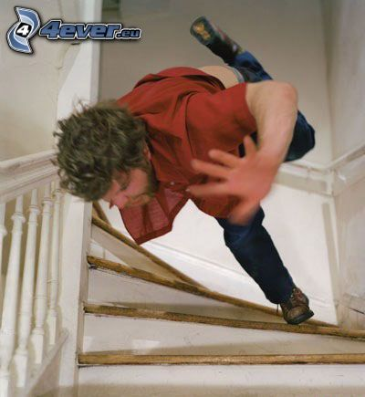 Schnappschuss, fallen, Treppen