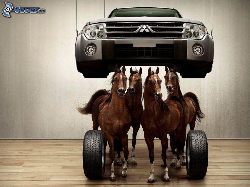 Mitsubishi, braune Pferde