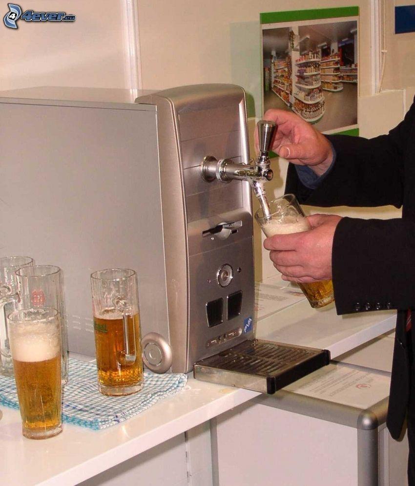 Computer, Bier, bar