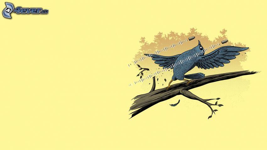 blauer Vogel auf einem Zweig, Munition, Matrix, Parodie
