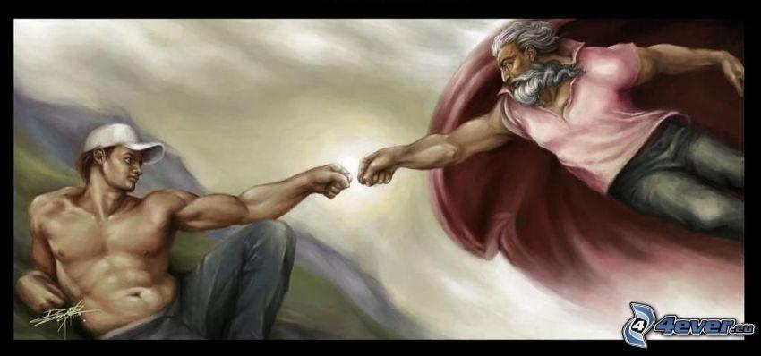 brofist, Bild, Michelangelo, Parodie