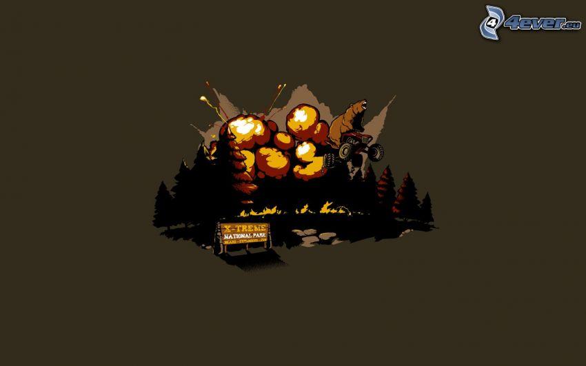 Explosion, Wald, Bär, Quad