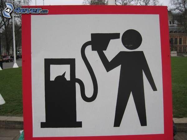 Schild, Benzin, Suizid