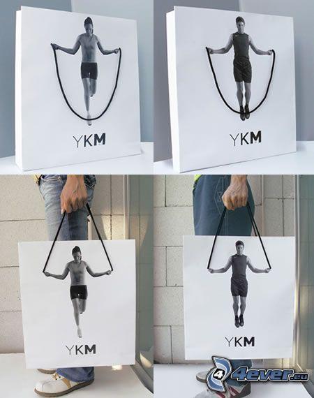 Seil, Mann, Frau, Tasche
