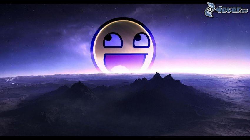 Smiley, Sonnenaufgang, digitale Landschaft
