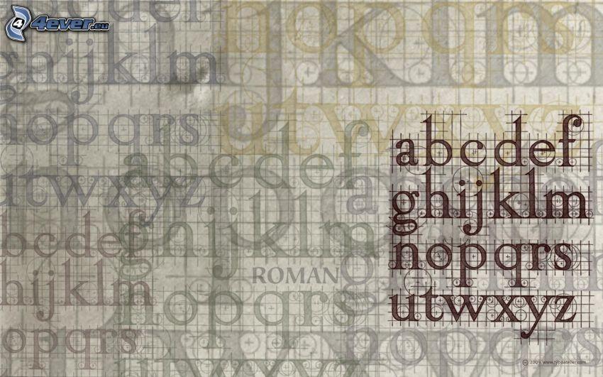 Alphabet, Buchstaben