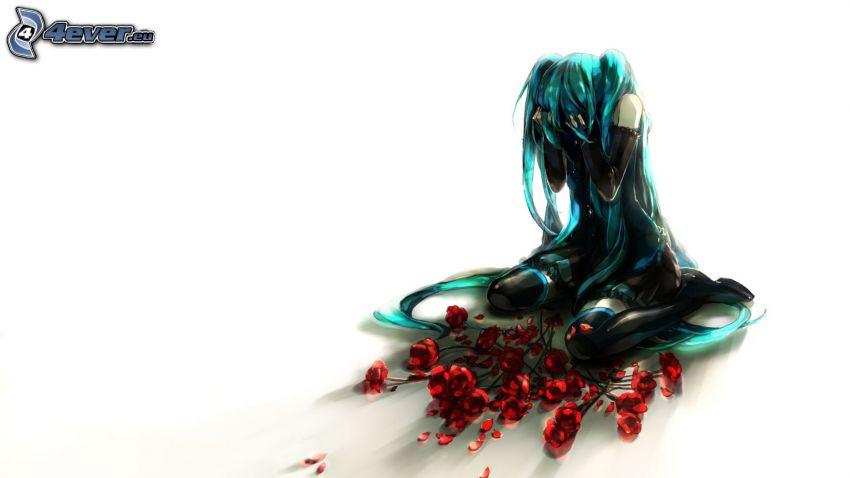 Anime Mädchen, Trauer, Rosen