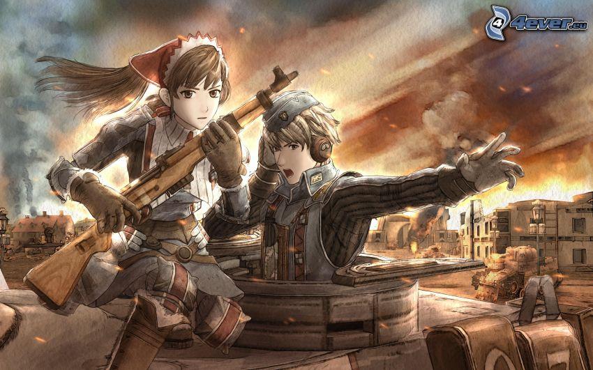 Anime Mädchen, Anime Kerl, Gewehr