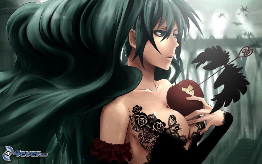 Anime Mädchen, Apfel