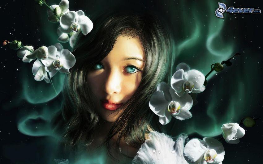 Anime Mädchen, Blumen