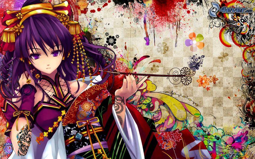 Anime Mädchen, bunte Blumen