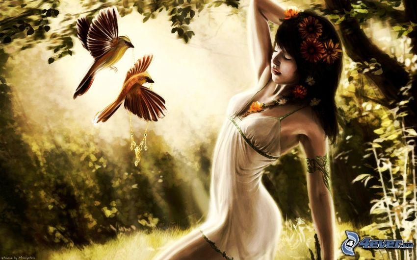 Anime Mädchen, chinesische Frau, Vögel