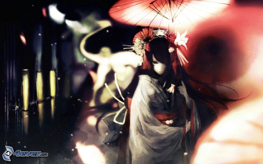 Anime Mädchen, chinesische Frau