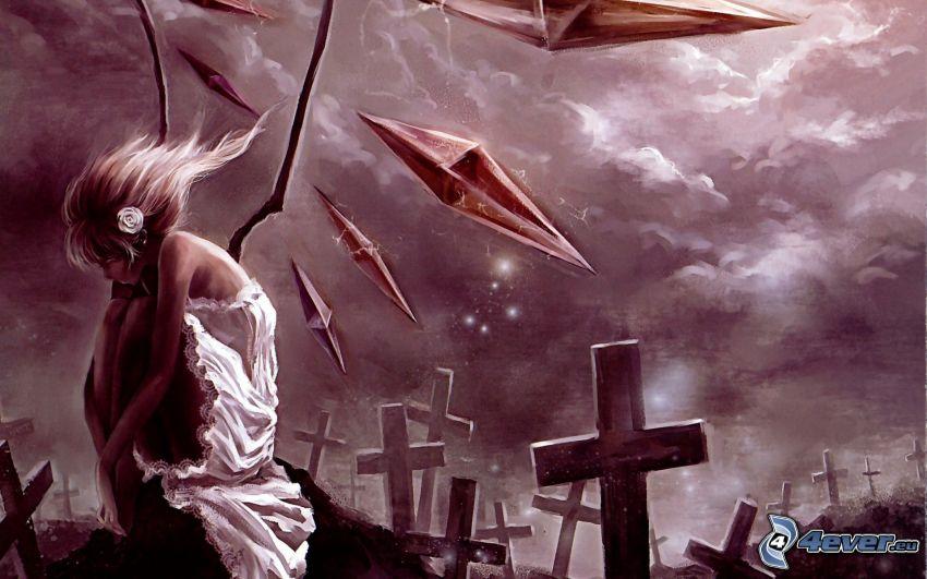 Anime Mädchen, Friedhof
