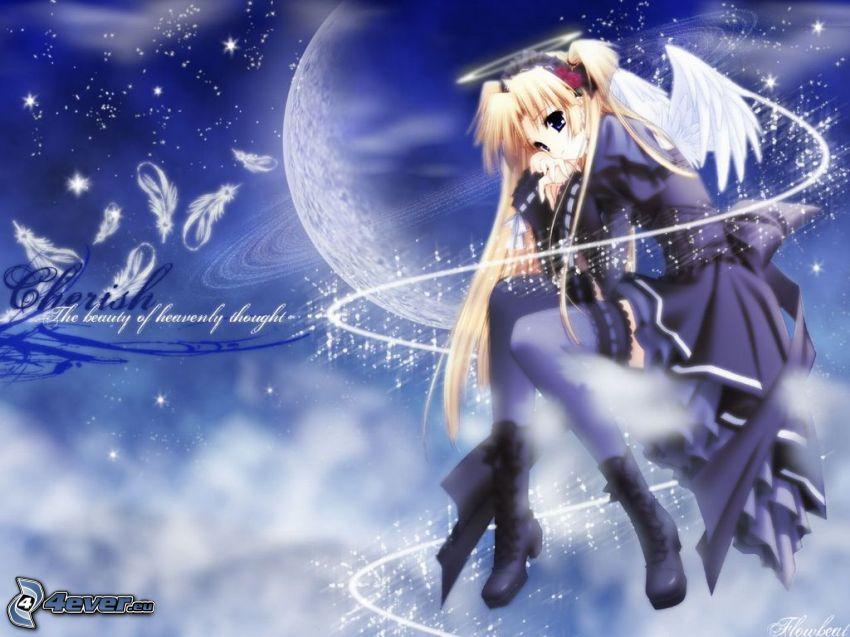 Anime Mädchen, gezeichneter Engel, Nacht, Mond
