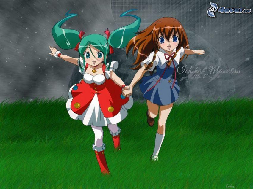 Anime Mädchen, grüne Wiese, Laufen