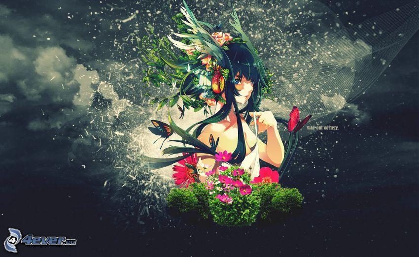 Anime Mädchen, Himmel