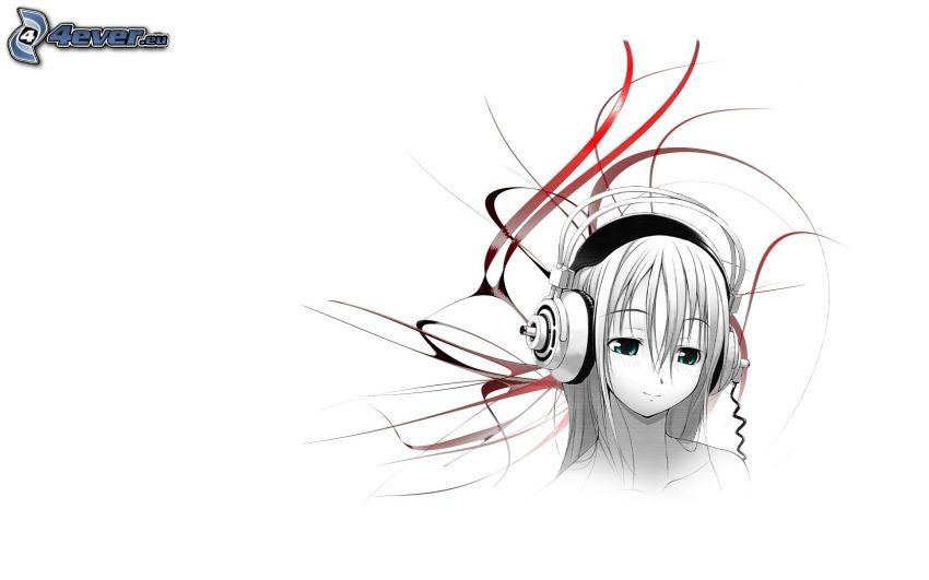 Anime Mädchen, Mädchen mit Kopfhörern