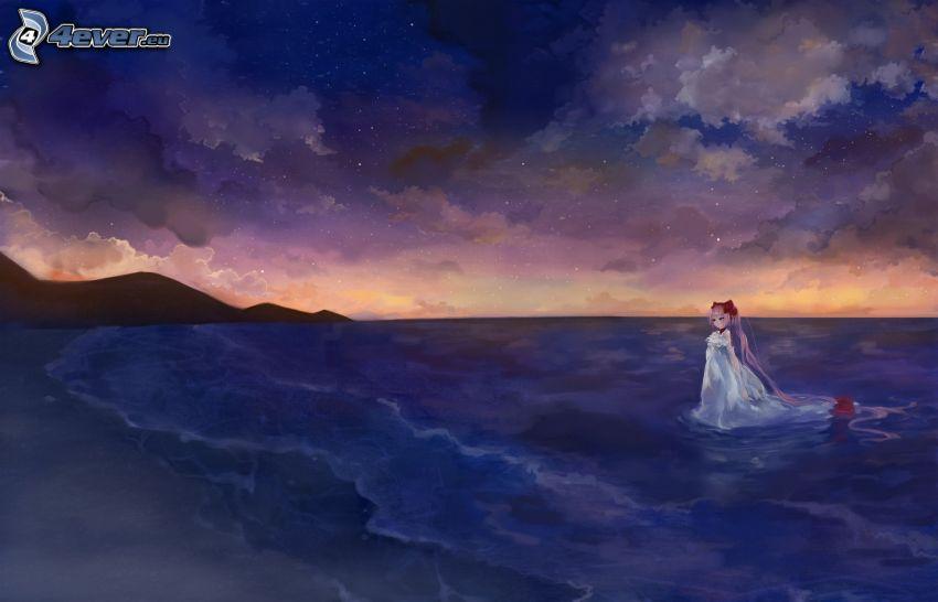 Anime Mädchen, Meer, Strand, Abendhimmel