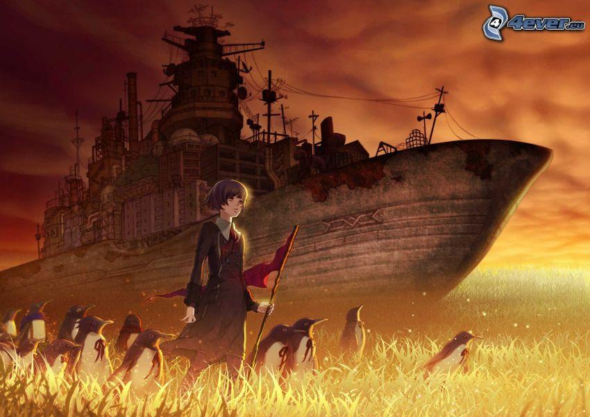 Anime Mädchen, Pinguine, Kriegsschiff