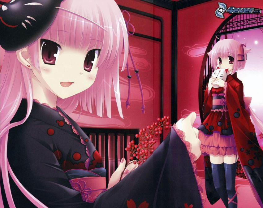 Anime Mädchen, rosa Haaren