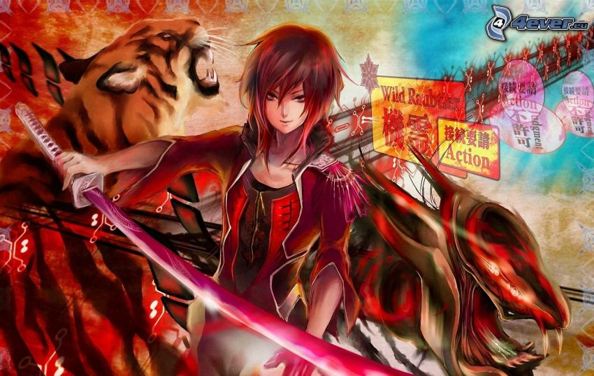 Anime Mädchen, Schwert, Tiger