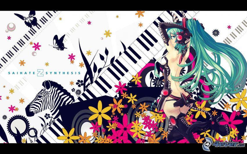 Anime Mädchen, Tasten, digitale Blumen, Zebra