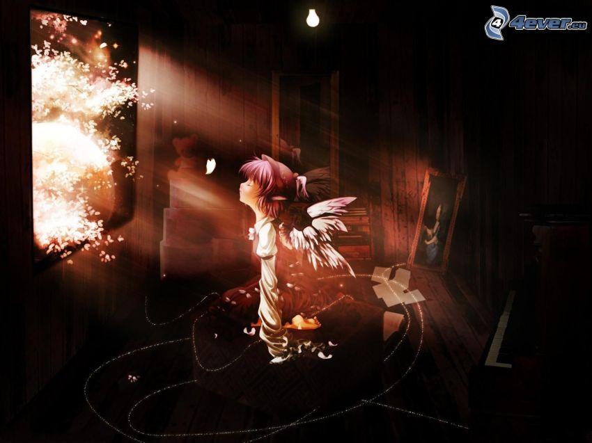 Anime Mädchen, verlassenes Zimmer, Sonnenstrahlen