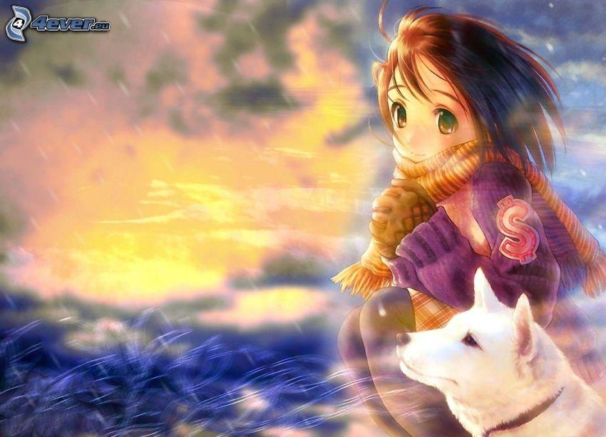 Anime Mädchen, Weißer Hund