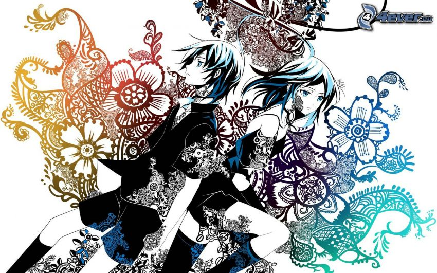 anime Paar, abstrakt
