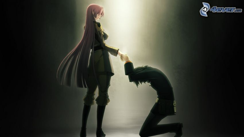 anime Paar, Anwendung der Hand
