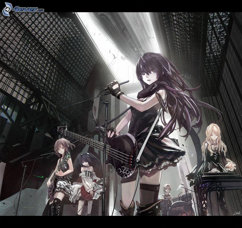 Band, Anime Mädchen, e-gitarre, Musik