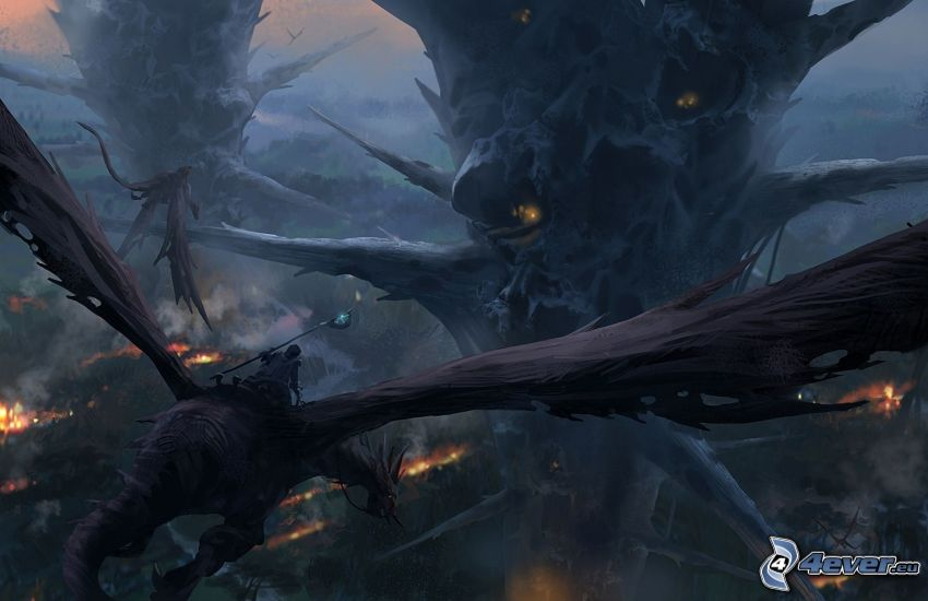 cartoon-Landschaft, Fantasy, fliegen Drachen