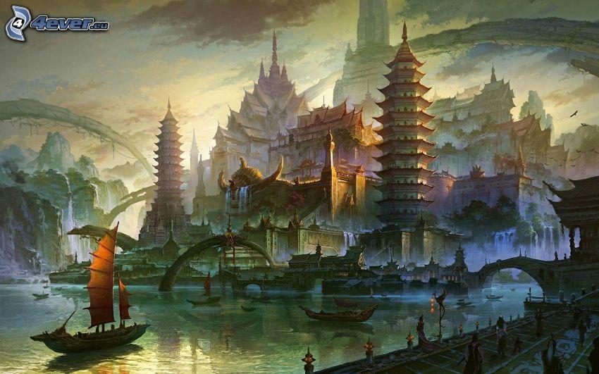 cartoon-Landschaft, Fantasy, Segelboot Zeichnung