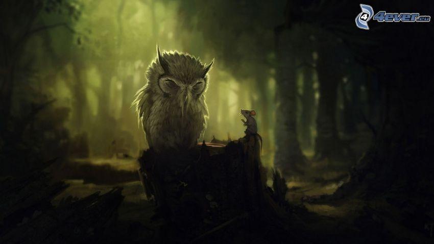 Eule, Maus, Wald