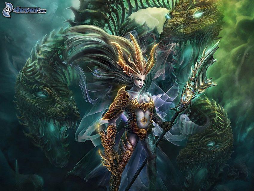 Fantasy Frau, cartoon Drachen