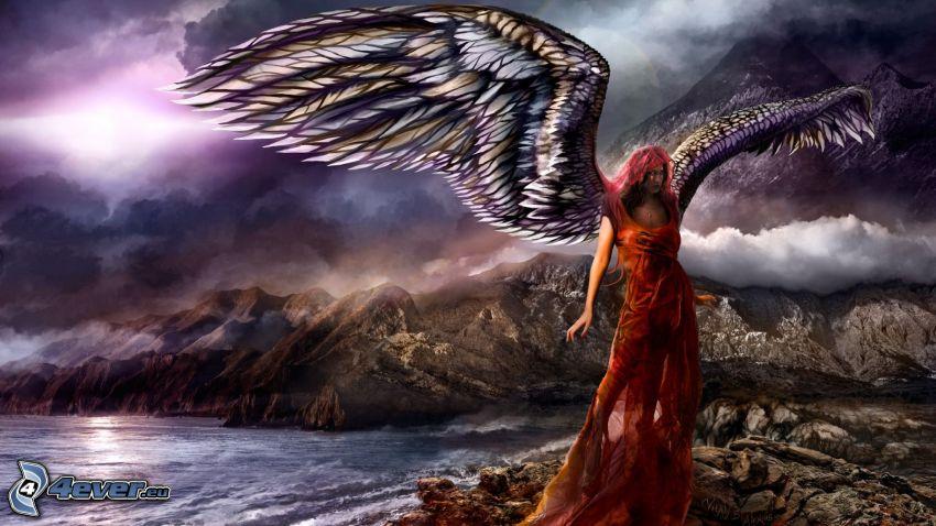Fantasy Frau, Flügel