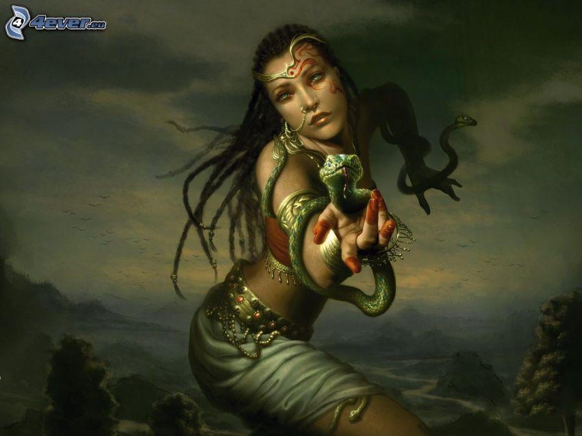 Fantasy Frau, grüne Schlange