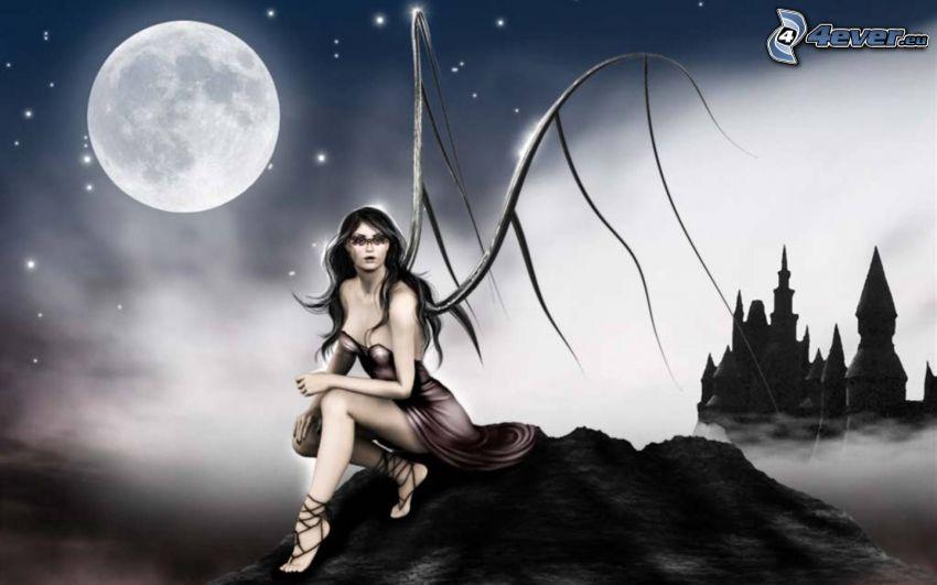 Fantasy Mädchen, Mond, Burg