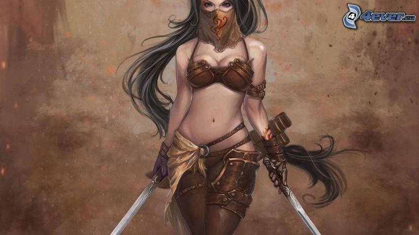 Frau mit dem Schwert, Kämpferin
