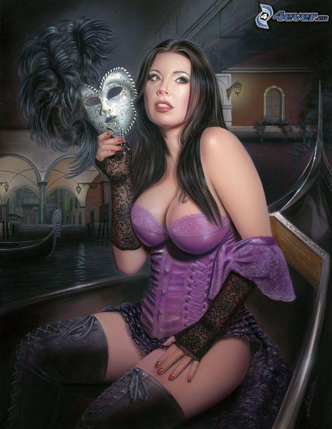 Frau mit der Maske, gezeichnete Frau, Korsett