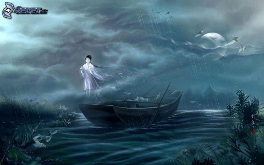 Gespenst, chinesische Frau, Boot, Mond