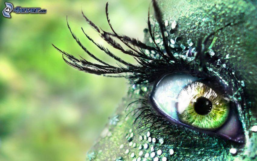 grünes Auge, Wimpern
