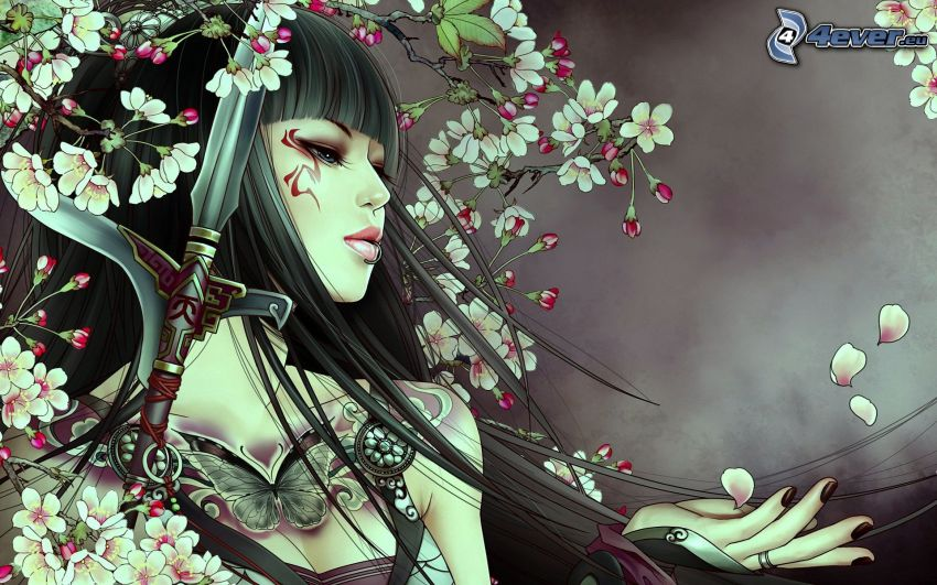 Kämpferin, Schwert, Blütenblätter