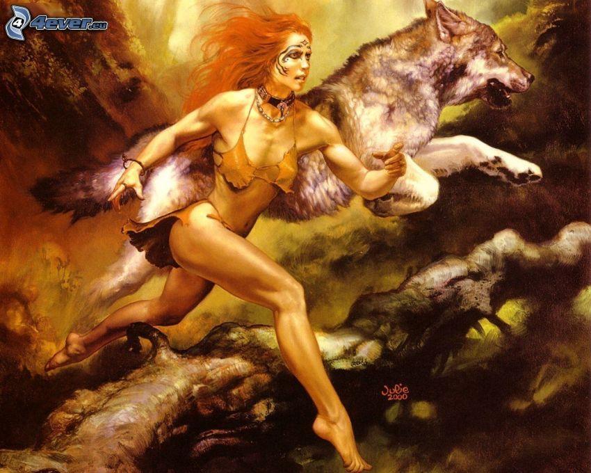 Kämpferin und Wolf