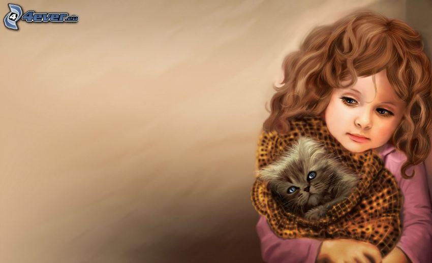 Mädchen, Kätzchen