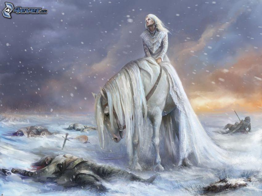 Nach dem Kampf, Ritter, weißes Pferd, Schnee, Leiche