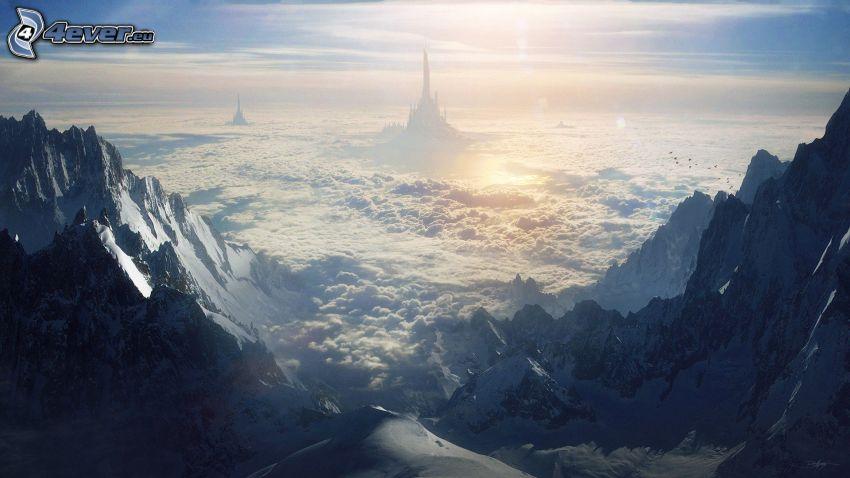Palast, über den Wolken, felsige Berge