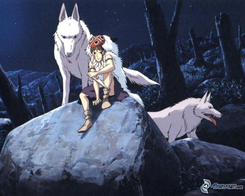 Princess Mononoke, anime, Märchen, Wölfe